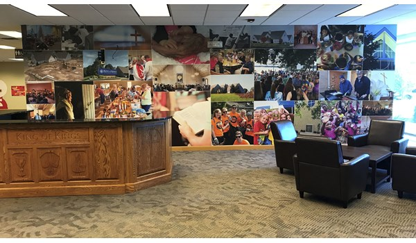 This is a full wall mural that Image360 Woodbury, designed, produced, and installed for King of Kings Church in Woodbury, MN