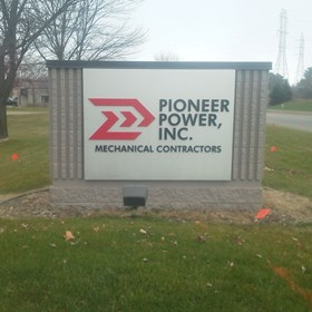 Monument sign for Pioneer Power