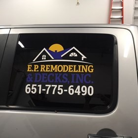 Vehicle window graphic for Endless Possibilities Remodeling
